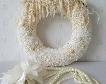 Burlap wreath with lace appliques , Burlap wreath with wedding appliques , Burlap wreath , Year round burlap wreath , Wreath , Home decor