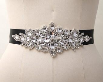 Rhinestone Bridal Belt, Bridal Sash Belt, Crystal Bridal Belt, Swarovski Crystal Sash Belt/ B033