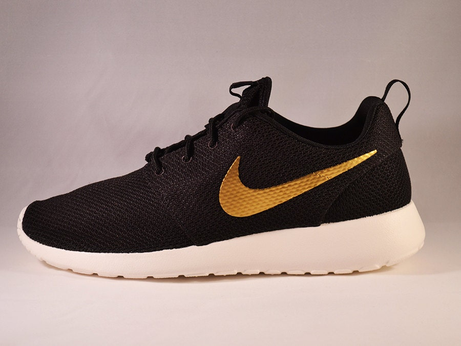 Custom Nike Roshe Run Gold Swoosh by UnleashedKustoms on Etsy