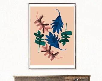 Print plant, leaf poster, botanical poster, scandinavian poster, leaves print, botanical illustration for bedroom wall decor, nature print