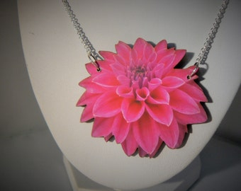 small pink dahlia flower vintage necklace woodcut lasercut  pretty