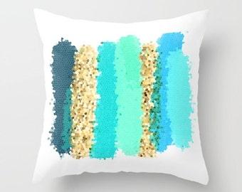 Turquoise Pillow, Teal Pillow, Blue and Yellow Pillows, Aqua Pillow Covers, Colorful Pillows, Decorative Throw Pillows, Outdoor Pillows
