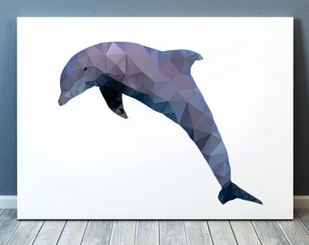 Sealife print Nautical art Dolphin poster Geometry print TOA119
