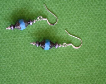 Turquoise and Gray Earrings