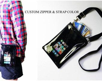 small mini black clear transparent pvc vinyl plastic shoulder crossbody messenger satchel iphone alcatel bag women cellphone zipper purse