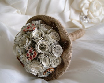 Paper flower wedding bouquet - VIntage, rustic - Vintage book bridesmaids bouquet