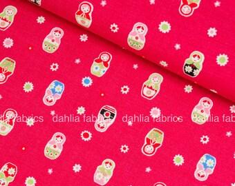 Lecien Minny Muu Collection Matryoshka Dolls Dark Pink 100% Cotton Fabric