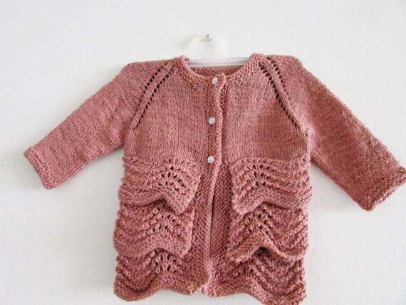 Summer Baby Knitting Patterns : Baby Summer Cardigan KNITTING PATTERN PDF - Flouncy Baby Cardigan Knitting Pa...