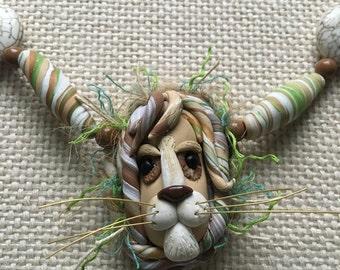 Leo the Lion, handmade pendant necklace
