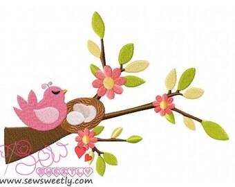 Bird On Branch-3 Embroidery Design.