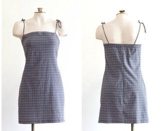 1990s gray checked sheath dress