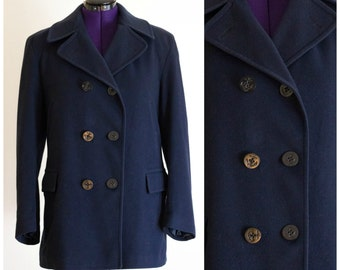Brooks Brothers navy blue pea coat SIZE L