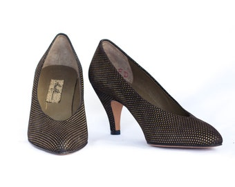 Italian black suede and gold heels NEVER WORN Size 8 AA