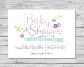 Baby Shower invitation, Floral Baby Shower Invitation, Digital Invitation, Custom Invitation, Flower Invitation