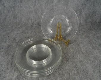 Rounded Vintage Glass Dessert Plates Set Of 8