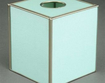Mint Green Metal and Glass Tissue Box Cover