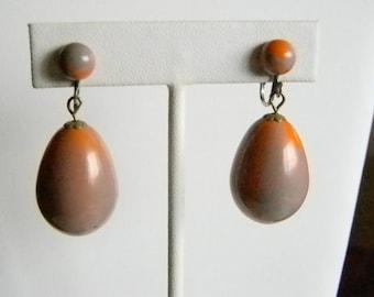 Orange Gray Large Tear Drop Clip Earrings