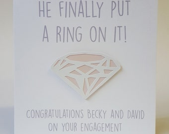 Personalised Handmade Engagement Card He finally put a ring on it! PINK Die Cut Diamond Papercut