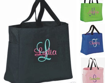 10 Personalized Tote Bag Monogram Bridesmaid Gift Wedding Teacher FRIEND SHOWER Personalized Embroidered