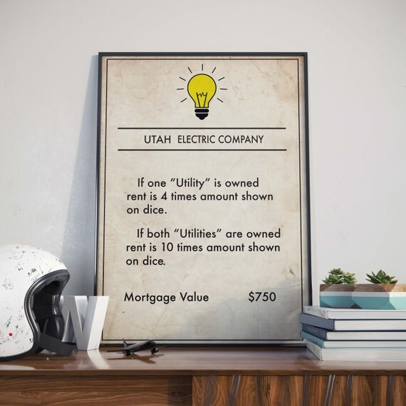 Monopoly inspired Utah Electric Company Poster Board Game