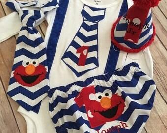 FREE SHIPPING !!!! Elmo inspired First Birthday Boy Cake Smash Set/ outfit