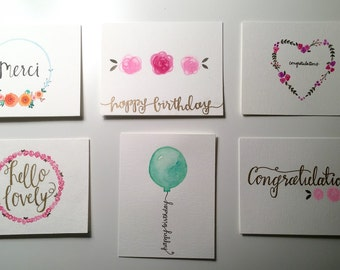 Set of 6 | hand painted | greeting card variety set