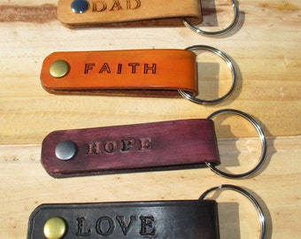 Personalized Leather Key ring  Gifts. Key Holder, Key Hook, key fob. handmade