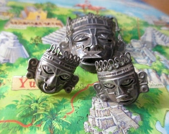 Magnificent Mexican Aztec Masks Silver With Stamps (E372)
