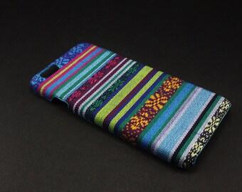 Blue Aztec print canvas cloth phone case - iPhone 6, 6s, 6 Plus & 6s Plus hard case
