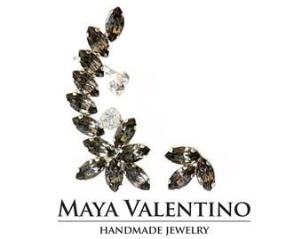 Climbing earrings, Silver ear cuff, Elegant earrings, Fancy stone, Ear climber, bridal earrings, bridal ear cuff, Black diamond Crystals.