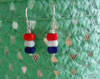 Tiny Glass Bead Dangle Red White & Blue Earrings USA Independence Day 4th of July