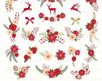"Christmas flowers clip art: "" Christmas flowers clipart"" with floral christmas, poinsettia clipart, 23 images, 300 dpi. PNG, EPS files"