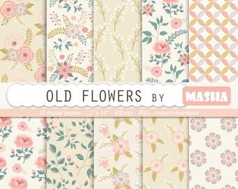 """Floral digital paper: """"OLD FLOWERS"""" vintage digital paper, vintage flowers, rose digital paper, floral patterns, old digital paper"""