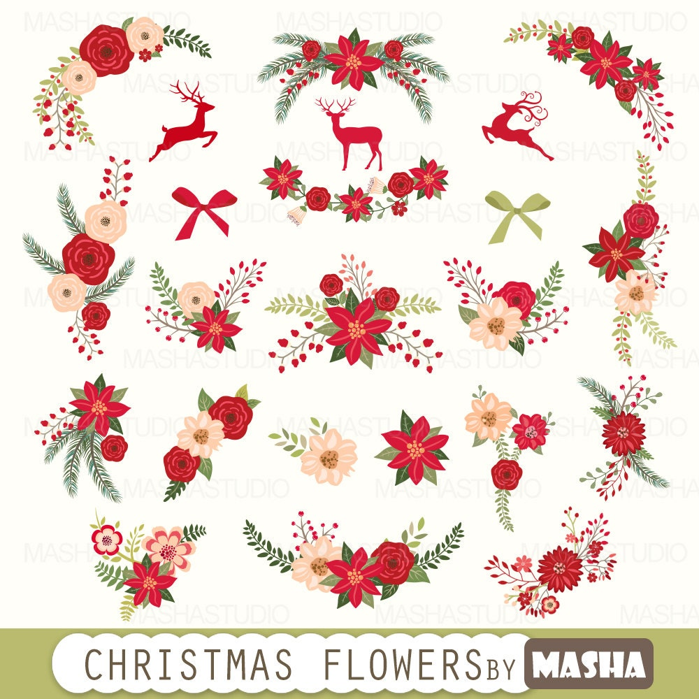 "christmas flowers clip art "" christmas flowers clipart"" with, Beautiful flower"