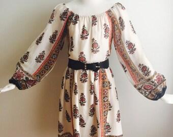 Vintage 1970s Rainbow of California BOHO Peasant Midi Dress FLORAL Ethnic Print POOF Gypsy Sleeves M L