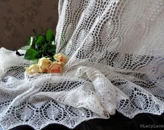 100% Wool Natural White, Handknitted Traditional Estonian Lace, Haapsalu Shawl FREE SHIPPING