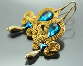 Blue Soutache Earrings Gold Octopus - Medium Gold Dangle Soutache Earrings - Gold Blue Earrings - Gold Soutache Jewelry - Orecchini Earrings