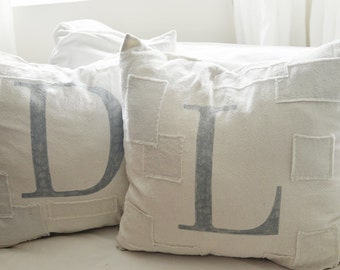 custom letter grain sack pillow cover. available in 16x16, 18x18, 20x20, 16x24 and 16x26. patches are optional.