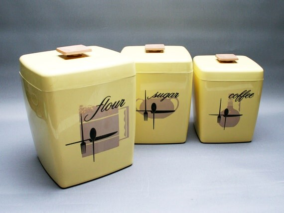 kitchen canisters set pastel yellow storage boxes flour coffee