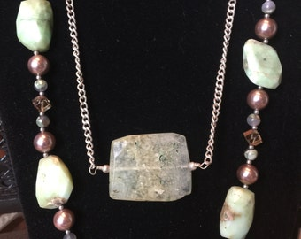 Sterling Silver, Chalcedony Stones, Pearls, and Swarovski Crystals Necklace Set