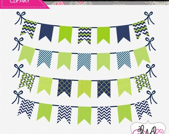 INSTANT DOWNLOAD: Navy Blue and Lime Green Digital Bunting - Digital Clipart - Commercial Use