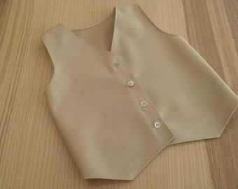 Jacket of ceremonies for boy in beige polyester with mother-of-Pearl buttons.