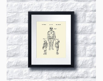 Boba Fett Star Wars Patent Art Print Star Wars Sci-Fi Movie, Star Wars Home Decor Star Wars Print #5