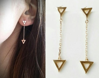 Triangles plated gold 750/000 - earrings dangling triangles gold - Triangle pending earing, yellow gold plated 18 k