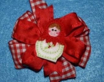 Christmas Matryoshka Hair Feltie Embroidery Machine Design for the 4x4 hoop