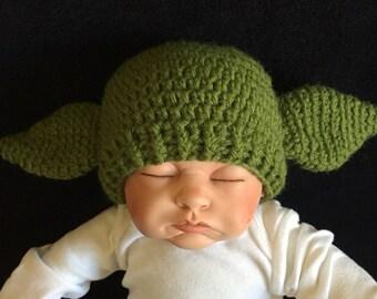 Crocheted Yoda Hat/ Baby Shower Gift/ Photo Prop Hat/ Star Wars Crocheted Yoda Hat