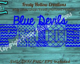 Blue Devils Pride cutting file SVG, DXF, EPS instant download.