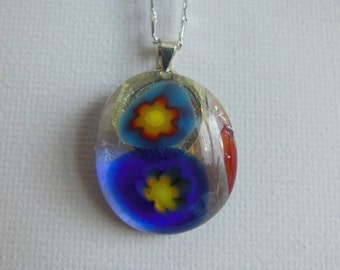 Handmade Flowers on Clear Fused Glass Necklace Pendant