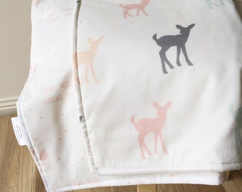 Modern girls crib blanket. Deer girls blanket. Modern cot blanket. Pastel fawns baby blanket. Girls crib bedding.