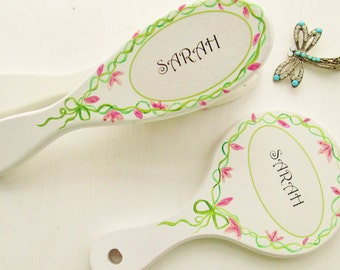 Hand painted personalised hair brush / hand mirror